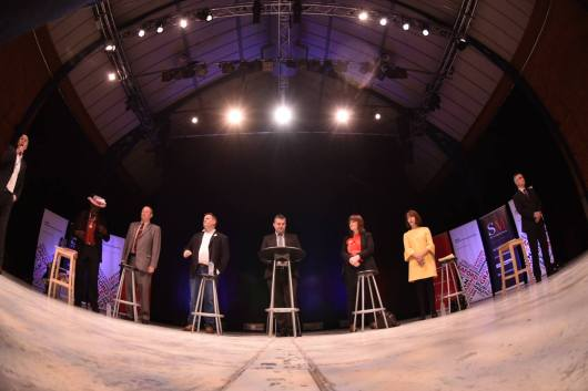 Six of the seven candidates standing in the election in Lincoln took part in the debate at the Drill Hall. Photo: Steve Smailes for The Lincolnite