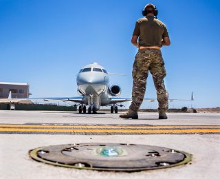 An engineer provides external observation as a Sentinel R1 from 5 (AC) Squadron normally based at RAF Waddington starts its engines at RAF Akrotiri in Cyprus. The squadron are carrying out missions in support of Operation Shader, the Counter-Daesh mission. Photo: Cpl Graham Taylor/RAF