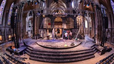 The set is under construction at Lincoln Cathedral. Photo: Steve Smailes for The Lincolnite