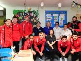 Lincoln City players spread festive cheer to hospital children