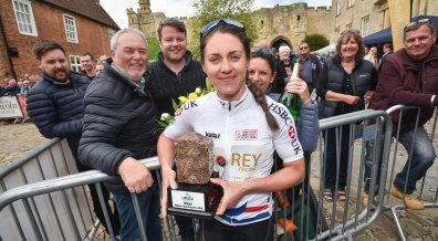 Winner Rebecca Durrell with her honorary cobble stone. Photo: Steve Smailes for The Lincolnite