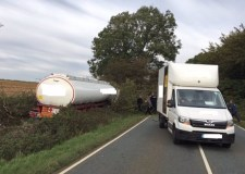 A15 road closure warning after tanker crash