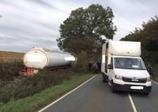A15 road closure warning after tanker crash