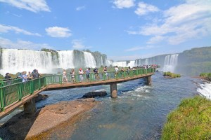 The walkway over the falls in Iguazu Falls, Brazil.
