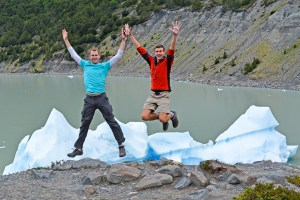 John and Scott excited to see a giant iceberg!