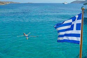 Scott living his best life in the Aegean Sea, Mykonos, Greece.