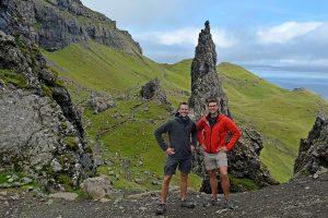 John Line and Scott Swiontek at Old Man Storr, Isle of Skye, Scotland, United Kingdom.