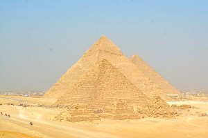 Viewpoint of all of the Pyramids of Giza, Cairo, Egypt.