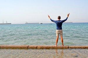 John parting the Red Sea in Aqaba, Jordan.