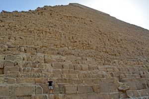 John Line on one of the Pyramids of Giza, Cairo, Egypt.