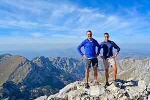 John Line and Scott Swiontek at the top of Bobotov Kuk in Durmitor National Park, Montenegro.