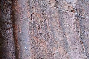 Hieroglyphics in the Wadi Rum Desert, Jordan.