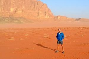 Scott Swiontek on the red sand of the Wadi Rum Desert, Jordan.