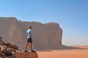Scott Swiontek looking over the Wadi Rum Desert.