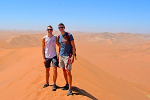 Scott Swiontek and John Line on top of Big Daddy at Sossusvlei Desert, Namibia.