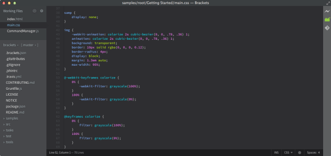 brackets open source html editor