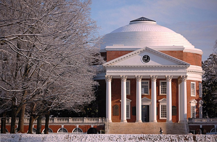Jefferson's Rotunda at the University of Virginia establishes hierarchy on The Lawn.