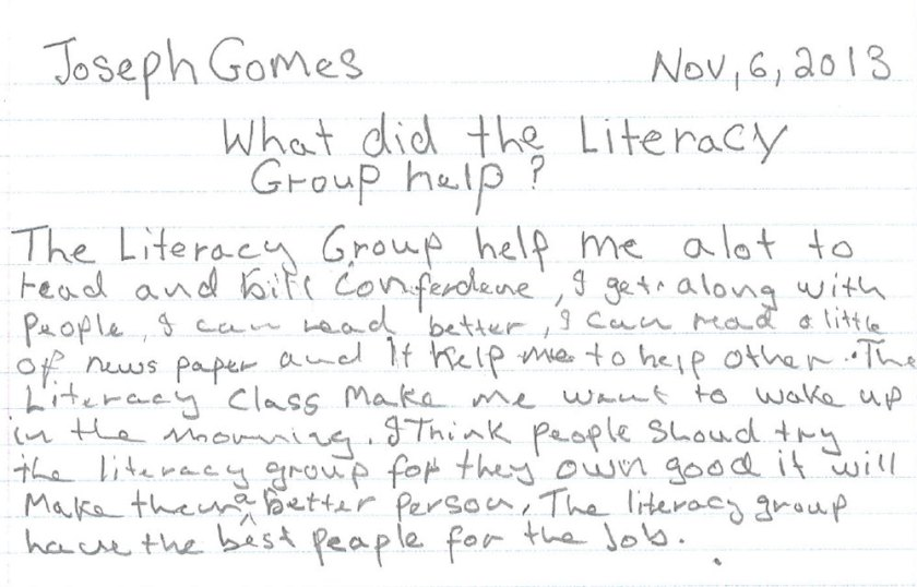 J Gomes own words for the Literacy Group