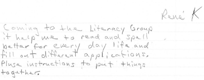 RK own words for the Literacy Group