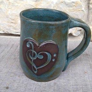 Handmade Treble Bass Clef Heart Mug