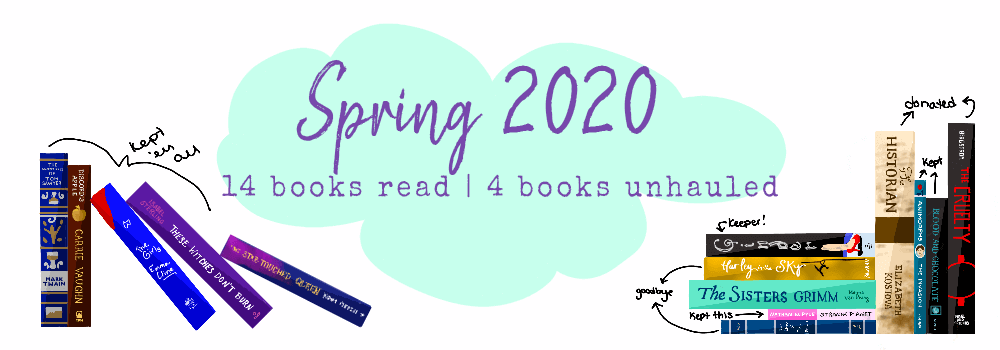 """14 Illustrated books propped around with a pastel mint bubble that reads """"Spring 2020"""" and """"14 books read 