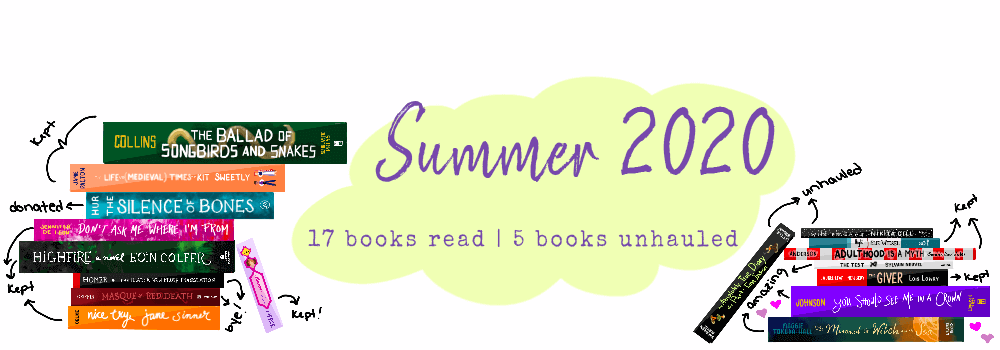 """17 Illustrated books propped around with a pastel yellow-green bubble that reads """"Summer 2020"""" and """"17 books read 