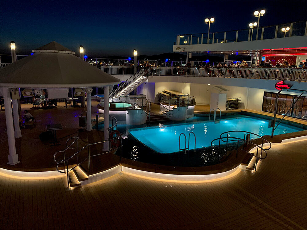 Pool Deck on the Norwegian Jade at Night