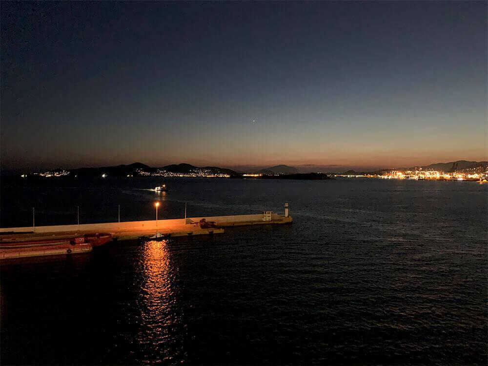 Sunset over Piraeus from the Norwegian Jade