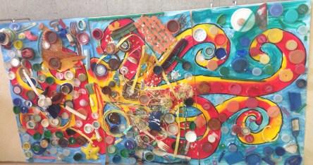 Mosaic octopus mural