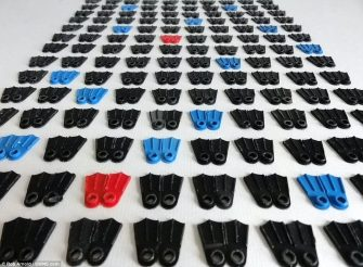 """""""There were also hundreds of pairs of Lego flippers and countless other plastic parts of modelling sets. It total Mr Arnold picked up 240 Lego flippers, which washed up on the beach from the Lego container spill in 1997"""""""