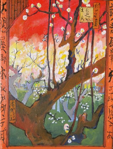 "Van Gough Study- Plum Blossoms, Original,9"" x 12"" Acrylic on canvas, 200$"