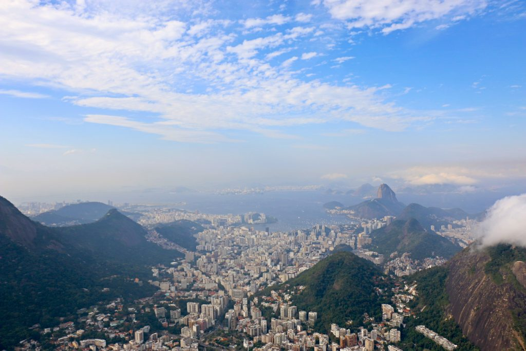 flying over rio de janeiro in a helicopter