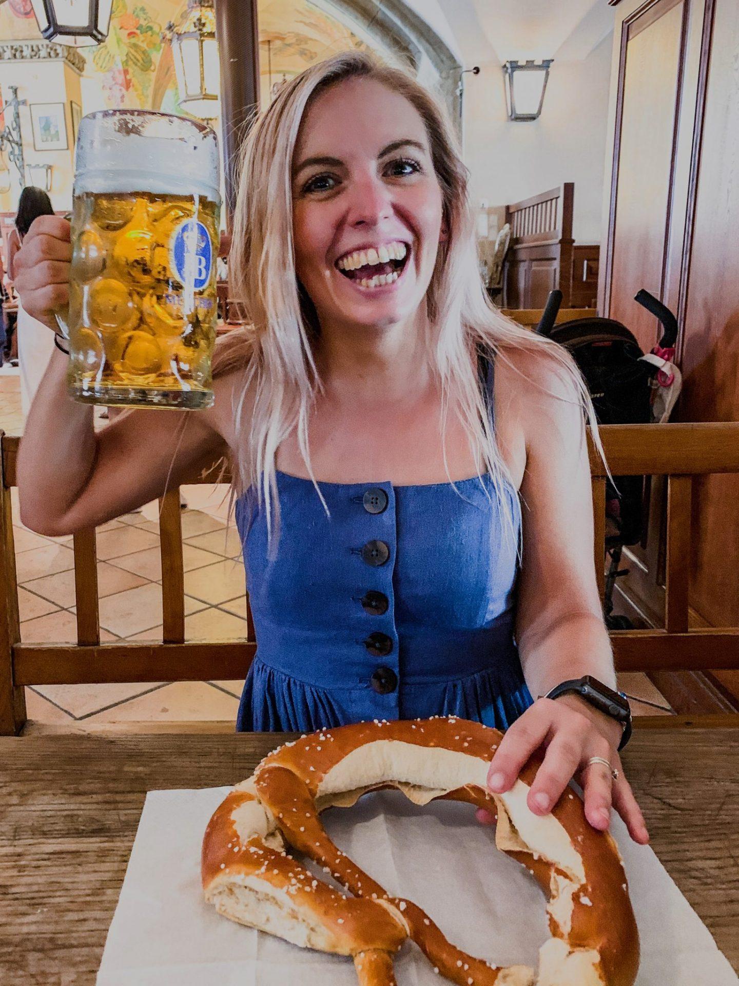 Munich beer and pretzel at Hofbrauhaus
