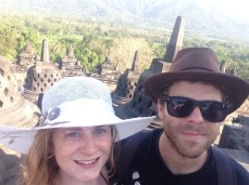 Wearing our fancy hats at Borobudur