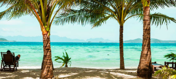 Winning GetGo members can relax in the fresh ocean breeze while enjoying a stunning view of the clear blue waters surrounding the island.