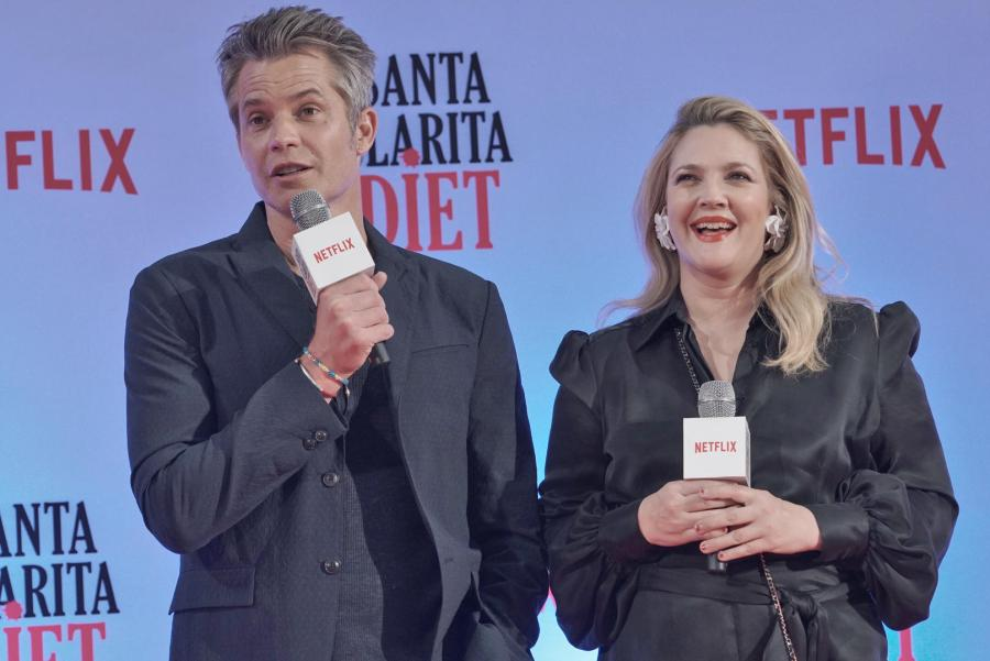 Santa Clarita Diet stars Timothy Olyphant and Drew Barrymore answers questions about the show during the red carpet event in SM Megamall.