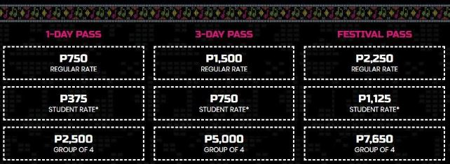 Ticket prices for Pinoy Playlist 2018