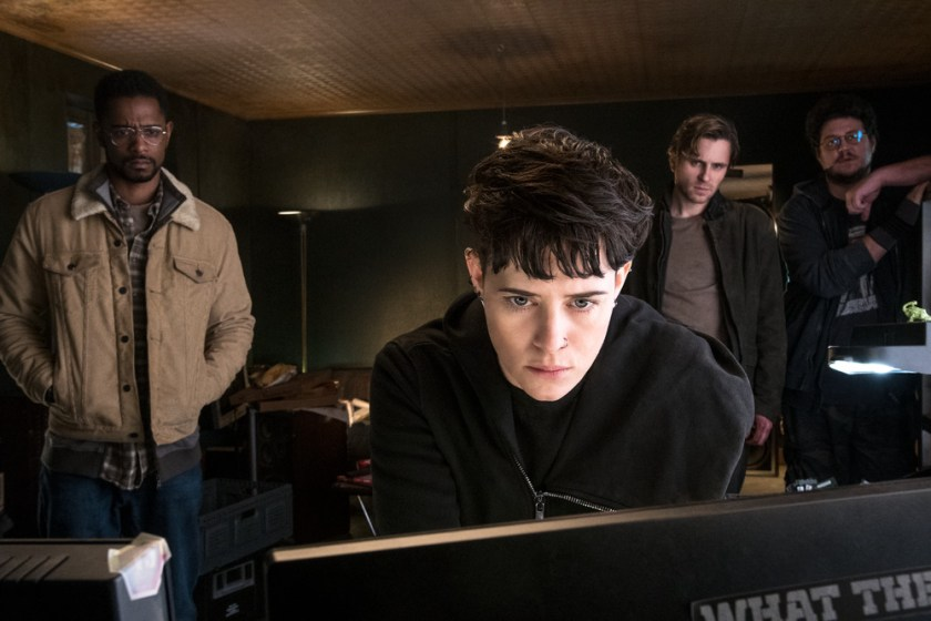 Ed Needham (Lakeith Stanfield) Lisbeth Salander (Claire Foy) Mikael Blomkvist (Sverrir Gudnason) and Plague (Cameron Britton) in THE GIRL IN THE SPIDER'S WEB. | The Little Binger | Credit: Columbia Pictures