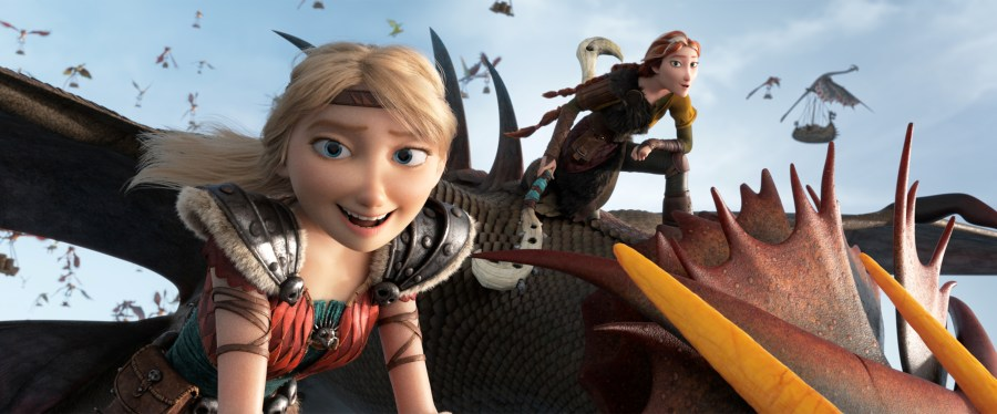 Astrid and Valka help Hiccup run Berk in How To Train Your Dragon: The Hidden World.   The Little Binger   Credit: United International Pictures