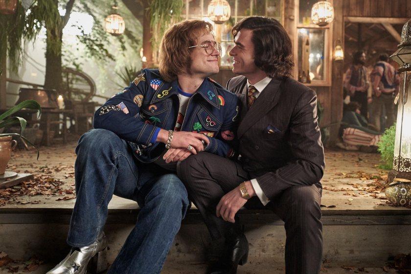 Taron Egerton as Elton John and Richard Madden as John Reid in Rocketman.