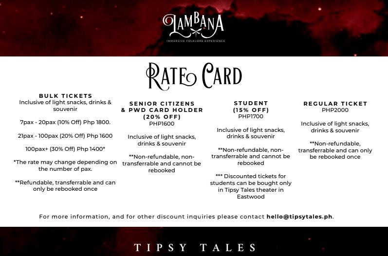 Tipsy Tales: Lambana Rate Card