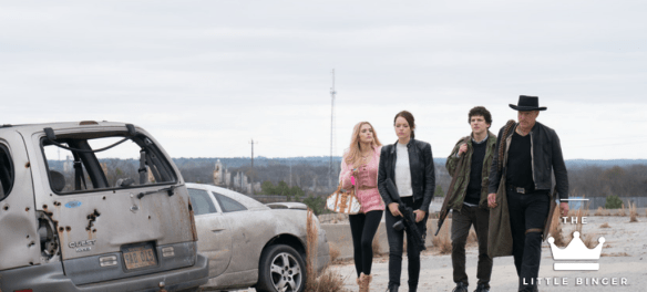 Columbus (Jesse Eisenberg), Tallahassee (Woody Harrelson), Wichita (Emma Stone) and Little Rock (Abigail Breslin) in Columbia PIctures' ZOMBIELAND: DOUBLE TAP. | The Little Binger