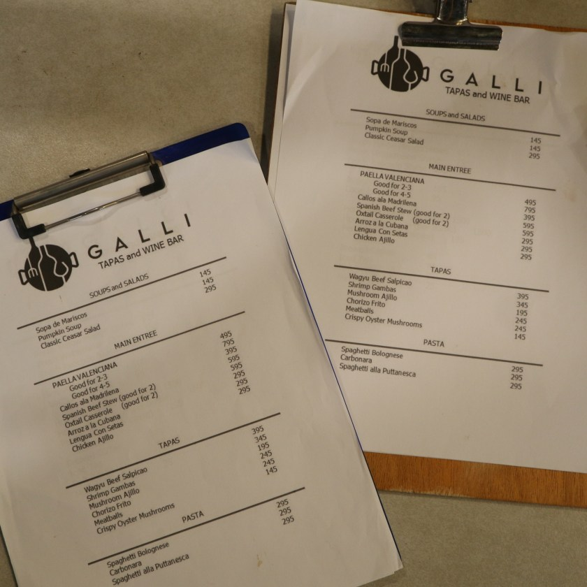 galli spanish restaurant menu