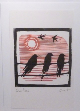 Swallows - red sky