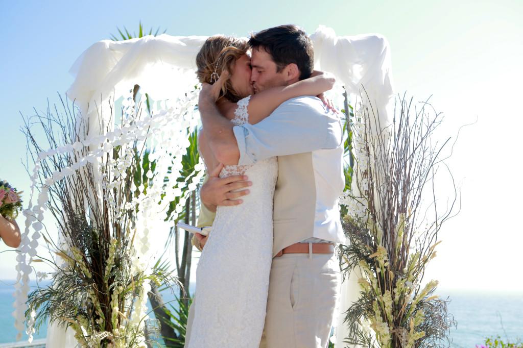 Artsy Classic Outdoor Romantic California Wedding Flower Petal Garland Altar