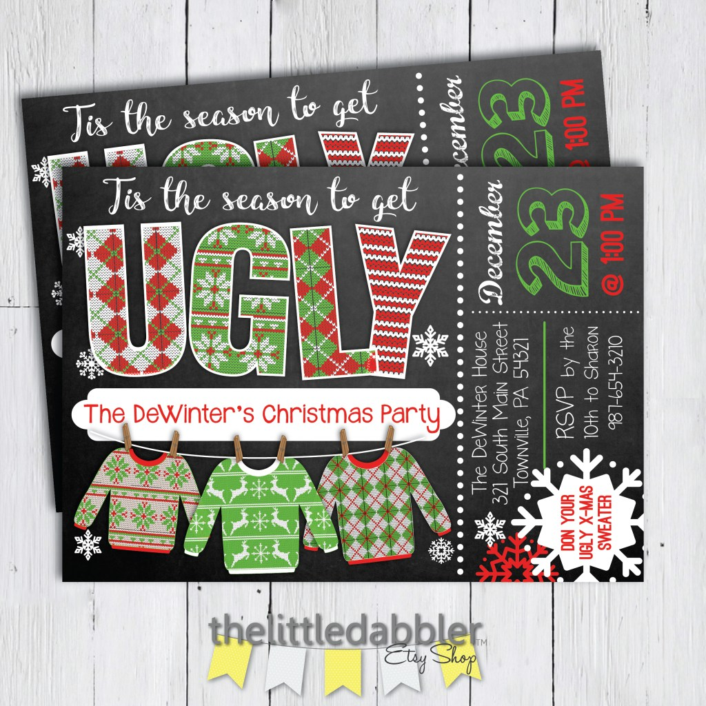 Ugly Holiday Christmas Sweater Party Invitation from TheLittleDabbler Etsy Shop