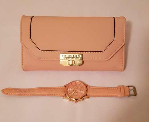 Stylish Light Pink Purse and Watch Set - Buy Online