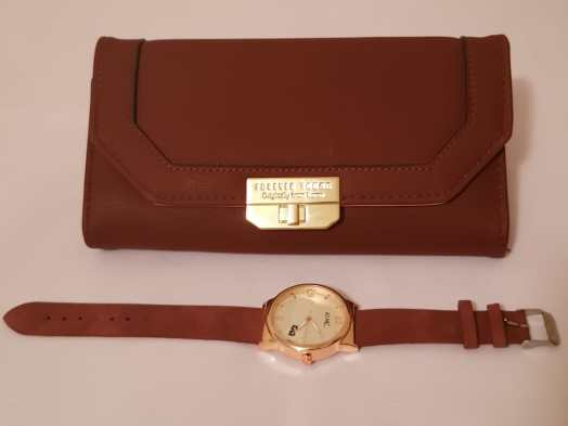 Stylish Maroon Purse and Watch Set - Buy Online