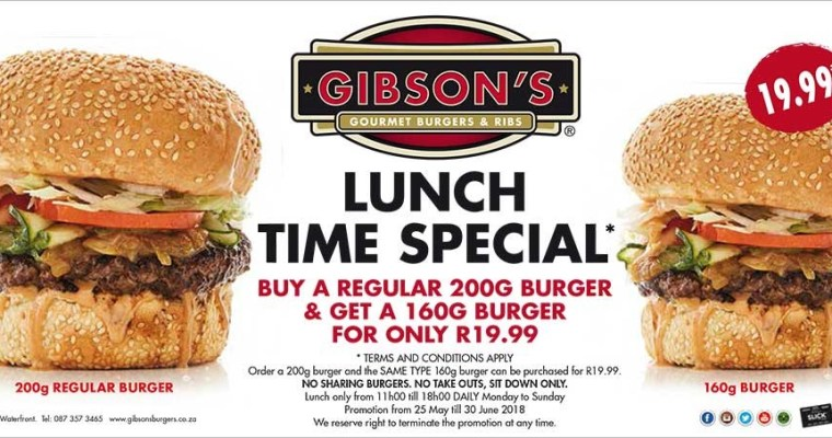 {WINTER SPECIAL} Gibson's Burgerlicious June lunch-time special!