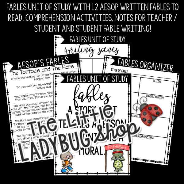 Aesop's Fables Unit Activities with Graphic Organizer, Posters, and Student Fable Writing